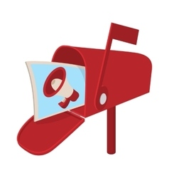 Red mailbox icon with megaphone poster cartoon vector