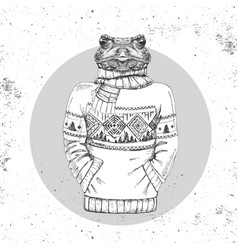 retro hipster animal frog dressed in pullover vector image