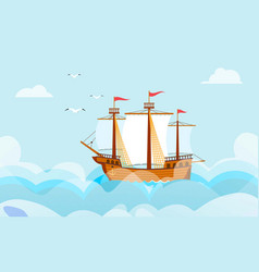 sailboat in wide sea or ocean nautical cartoon vector image