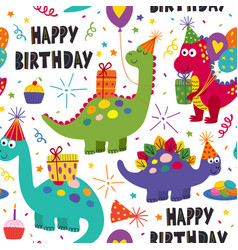 Seamless pattern with dinosaurs happy birthday vector