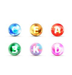 Set bright glossy icons vitamins a b c d e vector
