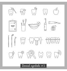 Set dentistry symbols part 1 vector