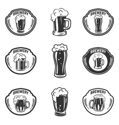 set emblems with beer mugs vector image