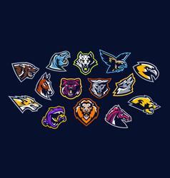 Set of animal logos bear dinosaur eagle vector