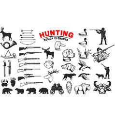 Set of hunting design elements hunting dogs vector