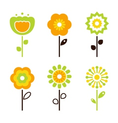Set of retro flower elements vector
