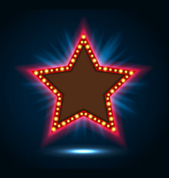shining blue spotlight on billboard star sign vector image