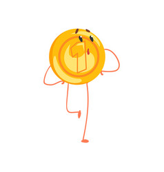 shiny golden coin character with surprised face vector image