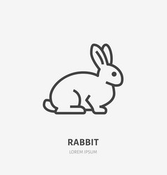 Sitting rabbit flat line icon thin sign of vector