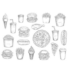 sketch fast food meals isolated icons vector image