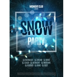 Snow Party Flyer Abstract Winter Poster vector