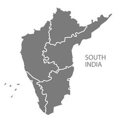 South india gray region map vector