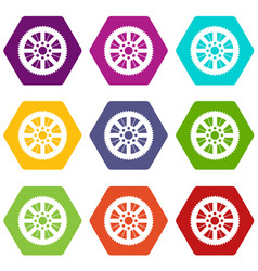 sprocket from bike icon set color hexahedron vector image