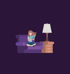 Student girl sitting reading book in livingroom vector