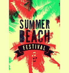 Summer beach festival typographic grunge poster vector