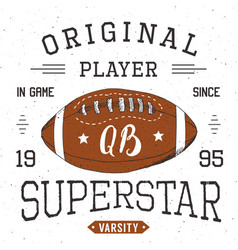 T-shirt design football quarterback superstar vector