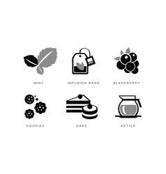tea icons set mint infusion bag blackberry vector image
