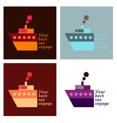 Time to travel concept happy family rides boat on vector