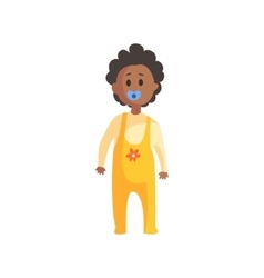 Toddler in yellow clothing with dummy in mouth vector