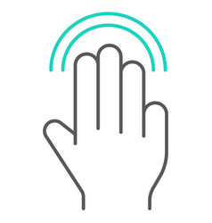 triple double tap thin line icon gesture and hand vector image