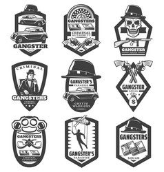 Vintage mafia emblems set vector