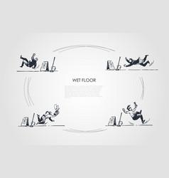 Wet floor - people falling down on floor vector