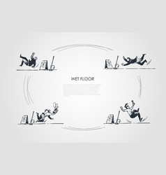 Wet floor - people falling down on wet floor with vector
