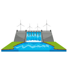 Windmills and dam with streams vector
