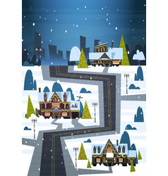 winter street with houses covered snow merry vector image