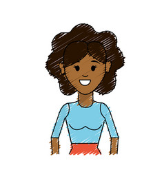 Woman with hairstyle and casual blouse vector
