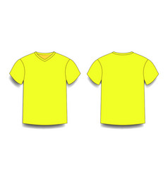 Yellow male t-shirt template v-neck front and vector