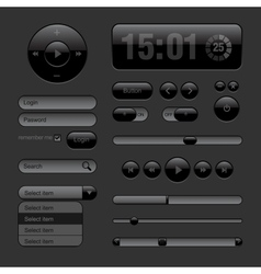 Dark Web UI Elements Buttons Switches bars vector image vector image