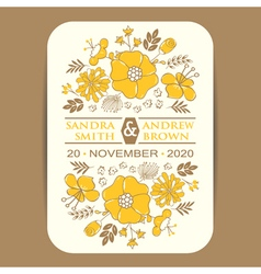 Invitation card with yellow flowers vector image