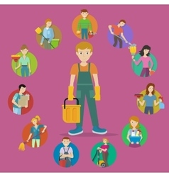 Set Avatar Userpics of Members Cleaning Service vector image vector image