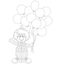 Clown with balloons vector image vector image