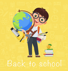 cute pupil boy back to school isolated cartoon vector image