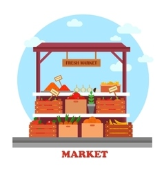 Food counter or stall at market with groceries vector image vector image