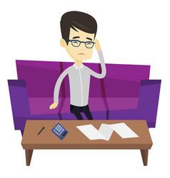 Unhappy asian man accounting home bills vector