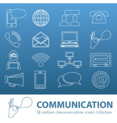 communication outline icons vector image vector image