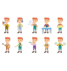 little caucasian boy set vector image vector image