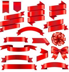 Red Ribbons Big Set vector image