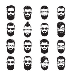 set of bearded men faces hipsters with vector image
