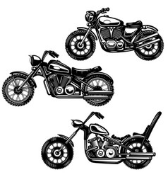 set of vintage motorcycle isolated on white vector image
