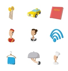 Staying in hotel icons set cartoon style vector image