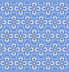 tile print or ceramic texture seamless mosaic blue vector image