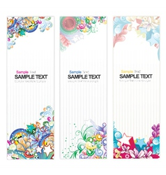 web banners with floral vector image