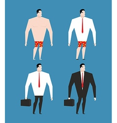 Businessman in business suit and briefcase Set man vector image vector image