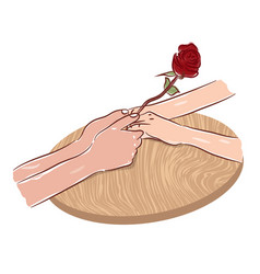couple hands holding rose flower romantic love vector image