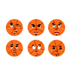 Emotions basketball ball Set expressions avatar vector image
