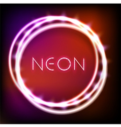 Glowing neon round frame with light bulbs vector image vector image
